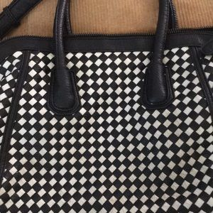 Black and White Basket weave Tote